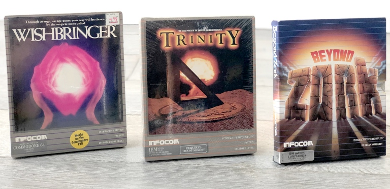 Wishbringer (1985), Trinity (1986) and Beyond Zork (1987), all titles by Moriarty while at Infocom